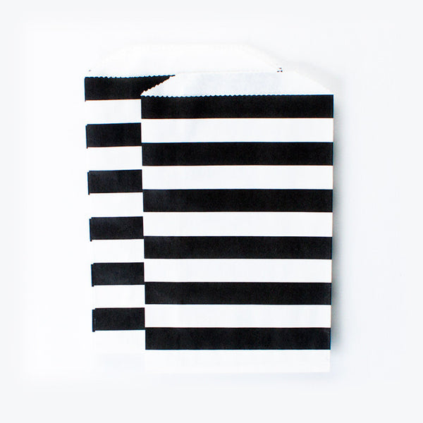 Treat Goodie Bags - Black and White Rugby Stripes