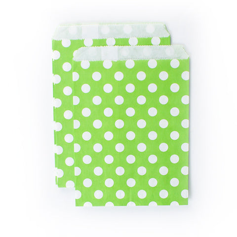 Treat Bags - White dots on Green