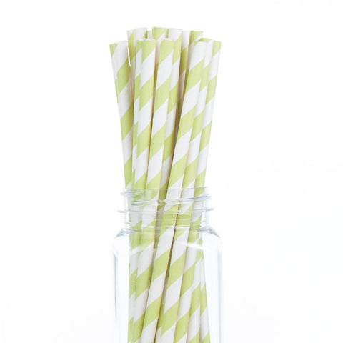Paper Straws : Apple Green Stripes