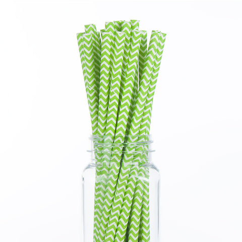 Paper Straws : Green Chevron
