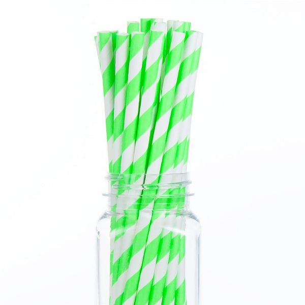 Paper Straws : Neon Green Stripes