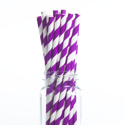 Paper Straws : Purple Stripes