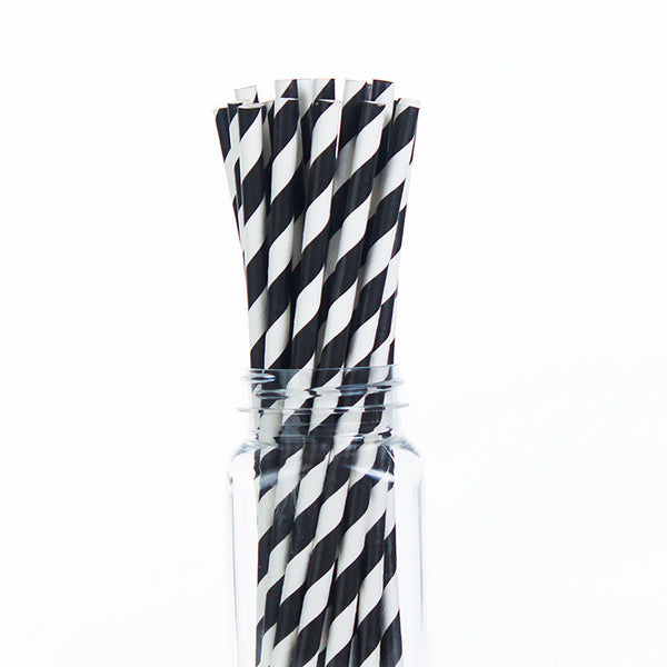 Paper Straws : Black Stripes