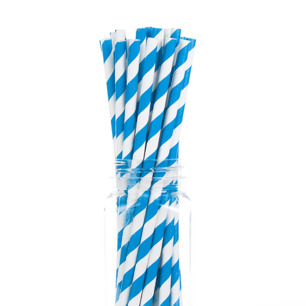 Paper Straws : Blue Stripes