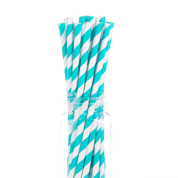 Paper Straws : Turquoise Stripes