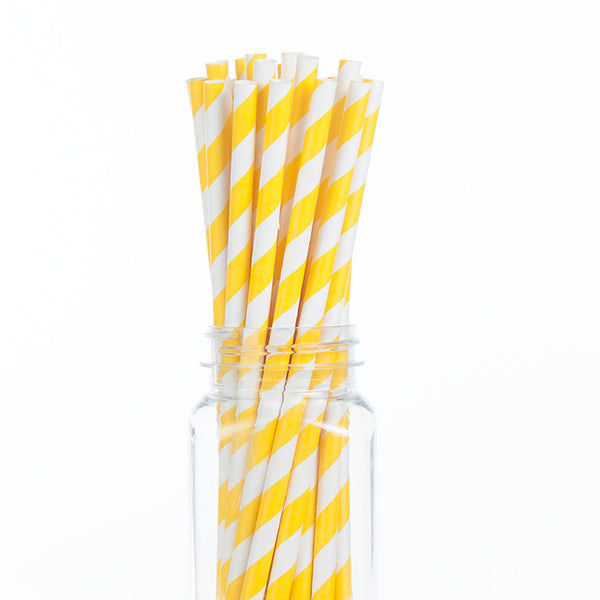 Paper Straws : Pineapple Yellow Stripes