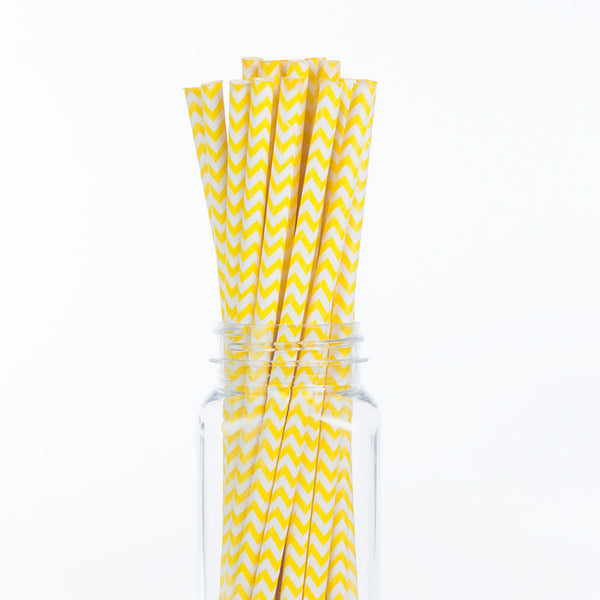Paper Straws : Yellow Chevron
