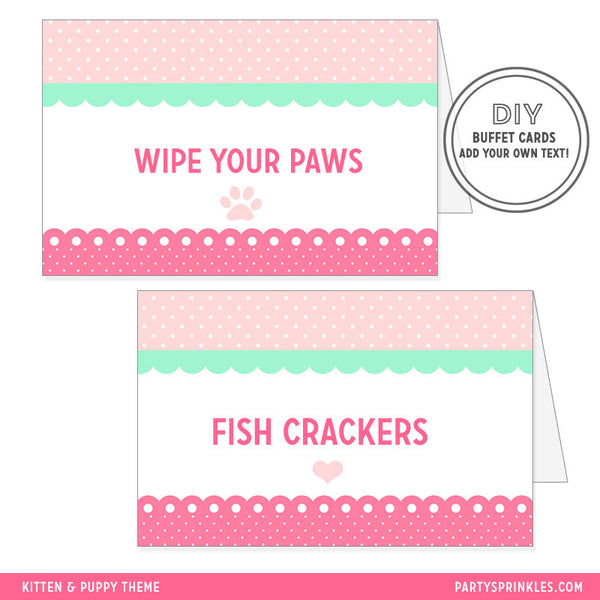 Pink Puppy & Kitten Buffet/Place Cards