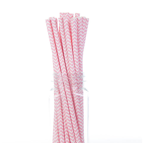 Paper Straws: Light Pink Chevron