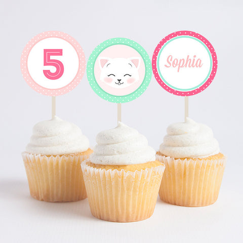 Custom Pink & Mint Kitten Cupcake Toppers