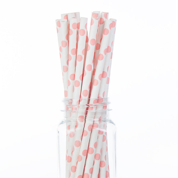 Paper Straws: Light Pink Polka Dots