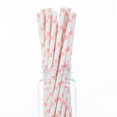 Paper Straws : Light Pink Polka Dots