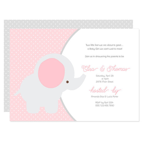 Pink & Gray Baby Elephant Invitation