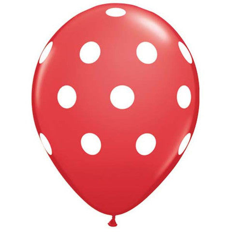 "11"" Polka Dots Balloon : Red"
