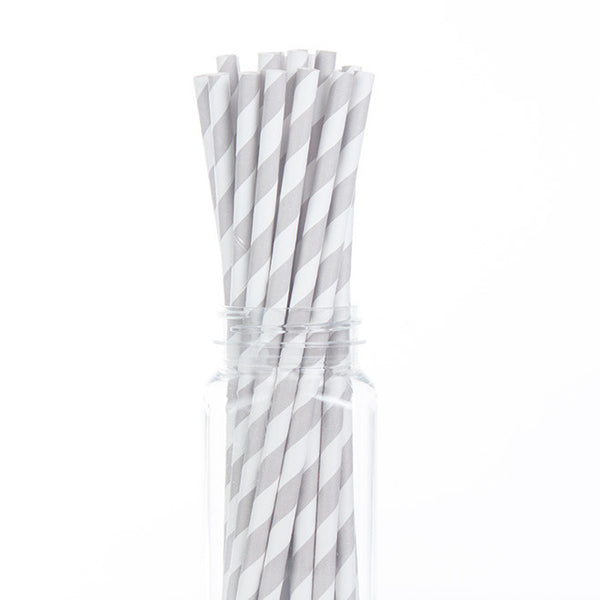 Paper Straws : Silver Stripes