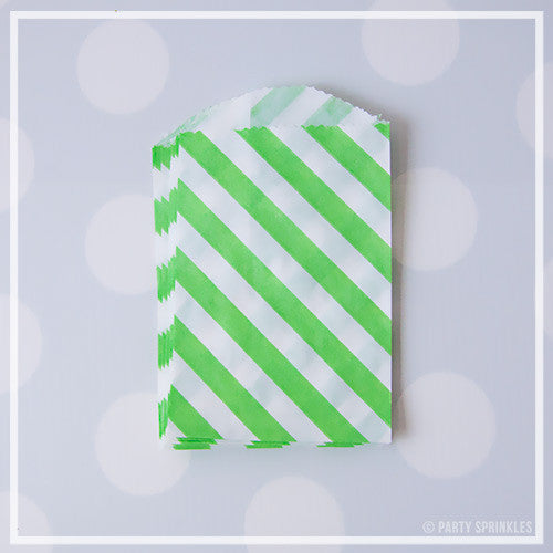 Mini Favor Bags - Diagonal Stripe : Lime Green