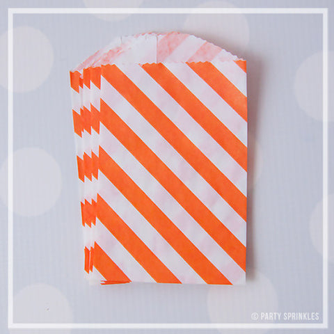 Mini Favor Bags - Diagonal Stripe : Tangerine Orange