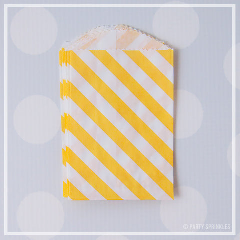 Mini Favor Bags - Diagonal Stripe : Sunshine Yellow