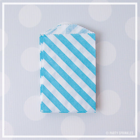 Mini Favor Bags - Diagonal Stripe : Powder Blue