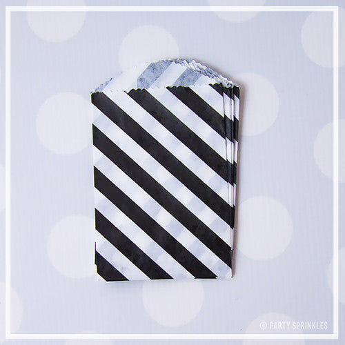 Mini Favor Bags - Diagonal Stripe : Black