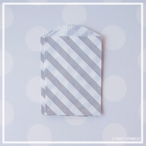 Mini Favor Bags - Diagonal Stripe : Gray