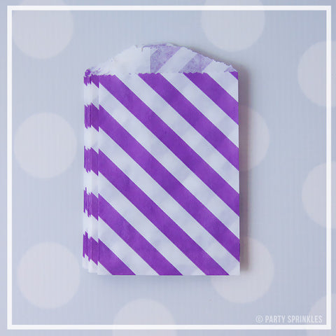 Mini Favor Bags - Diagonal Stripe : Purple