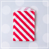 Mini Favor Bags - Diagonal Stripe : Cherry Red