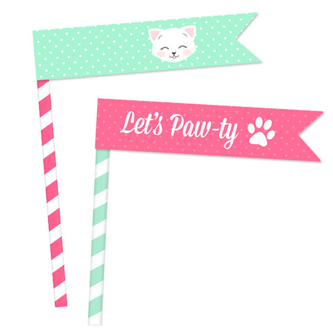 Pink & Mint Kitten Straw Flags