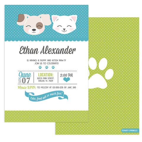 Green & Teal Kitten & Puppy Invitation