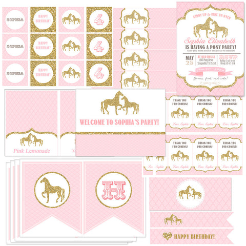 Gold Glitter Horses Collection