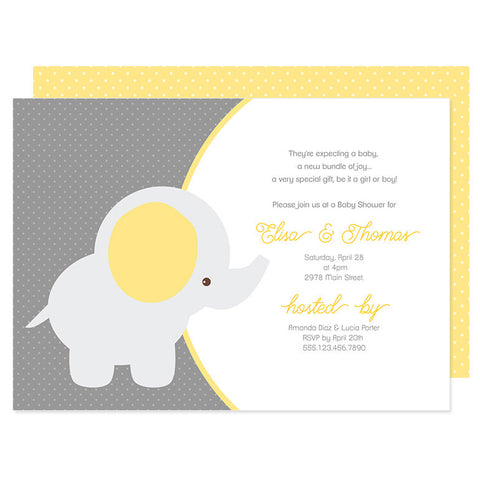 Yellow & Gray Baby Elephant Invitation