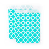Treat Bags - Aqua Quatrefoil