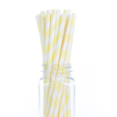 Paper Straws : Baby Yellow Stripes