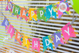 "Neon Art ""Happy Birthday"" Banner"