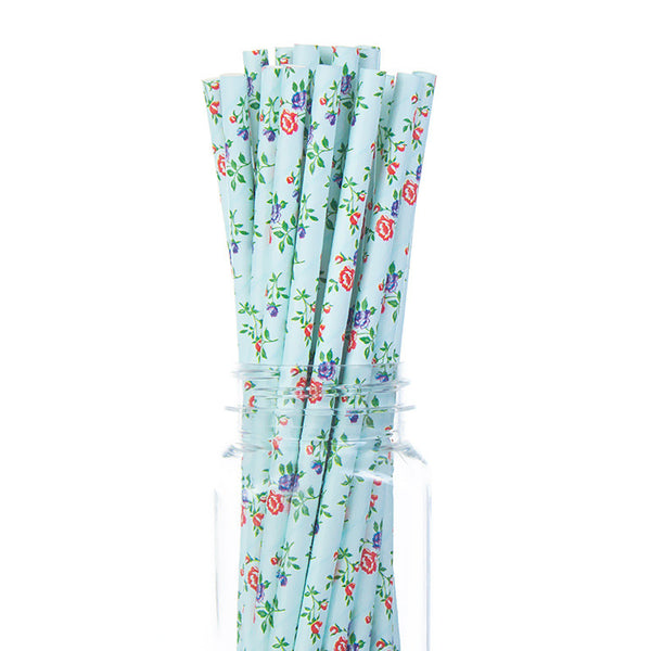 Paper Straws : Floral Blue