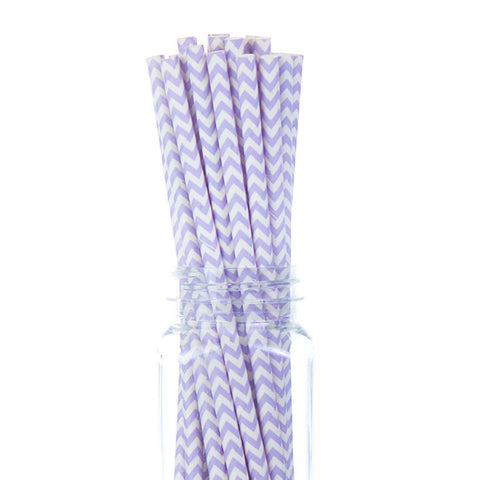 Paper Straws : Light Purple Chevron