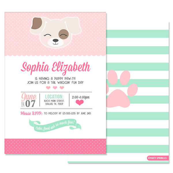 Pink & Mint Puppy Invitation