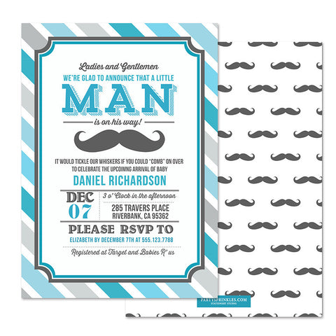 Little Man Mustache Invitation - Blue & Gray