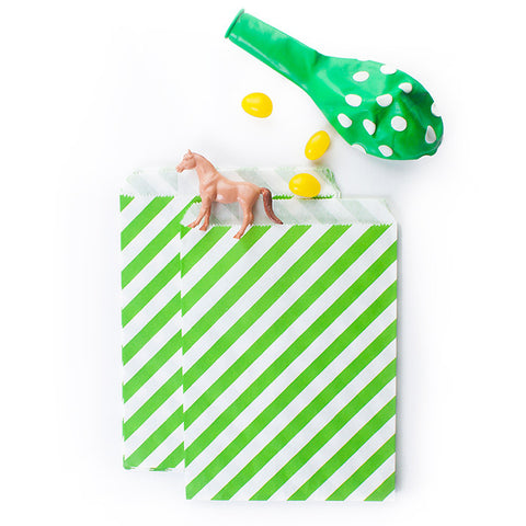 Treat Bags - Lime Green - Diagonal Stripes