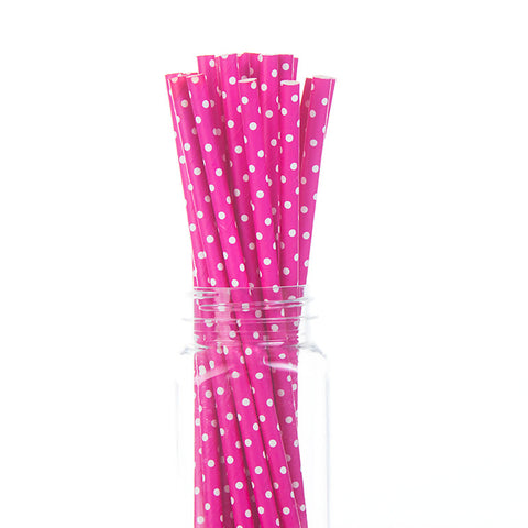 Paper Straws: Swiss Dots on Hot Pink