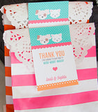 Custom Pink Kitten Favors Thank You Tags