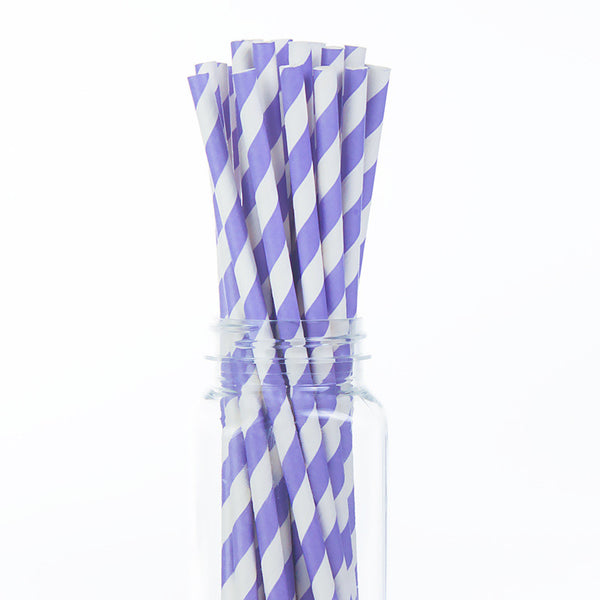 Paper Straws : Light Purple Stripes