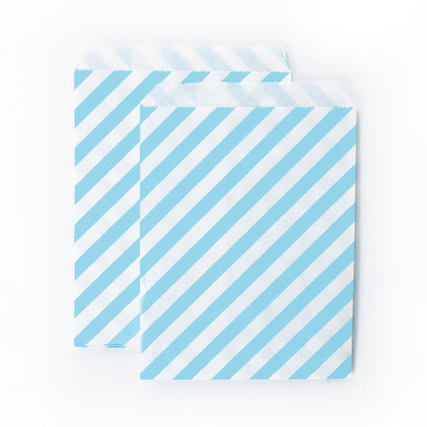 Treat Bags - Light Blue: Diagonal Stripes