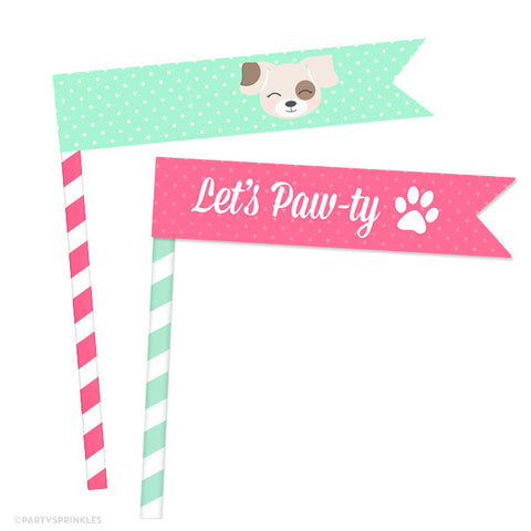 Pink & Mint Puppy Straw Flags