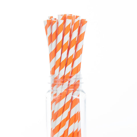 Paper Straws : Orange Stripes