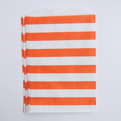 Treat Bags - Orange Rugby Stripes