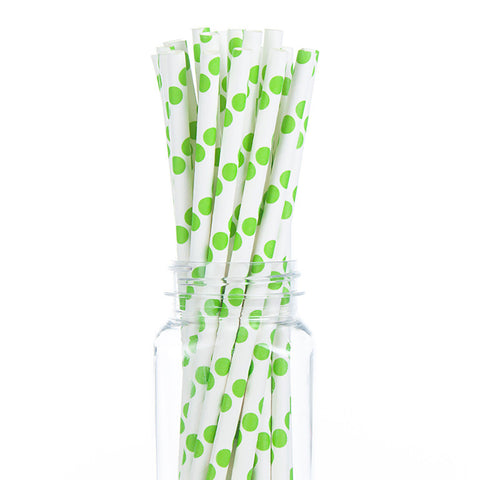 Paper Straws : Lime Green Polka Dots