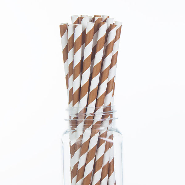 Paper Straws : Brown Stripes