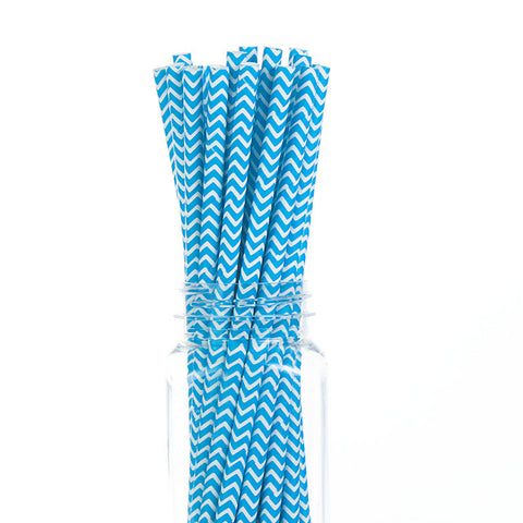 Paper Straws : Blue Chevron