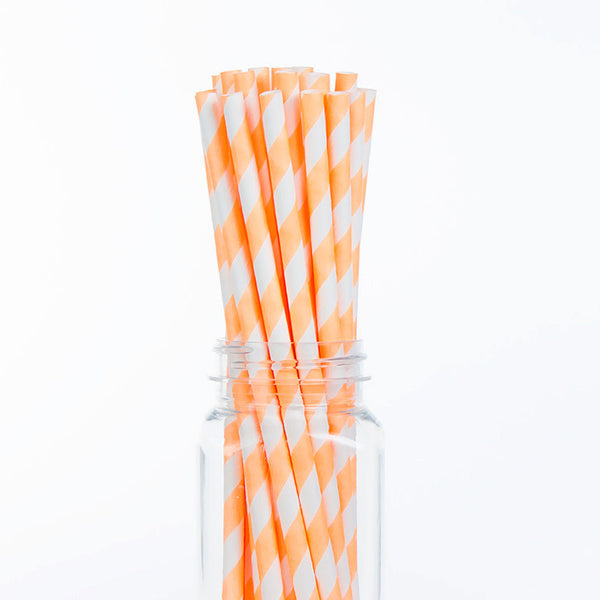 Paper Straws : Neon Orange Stripes
